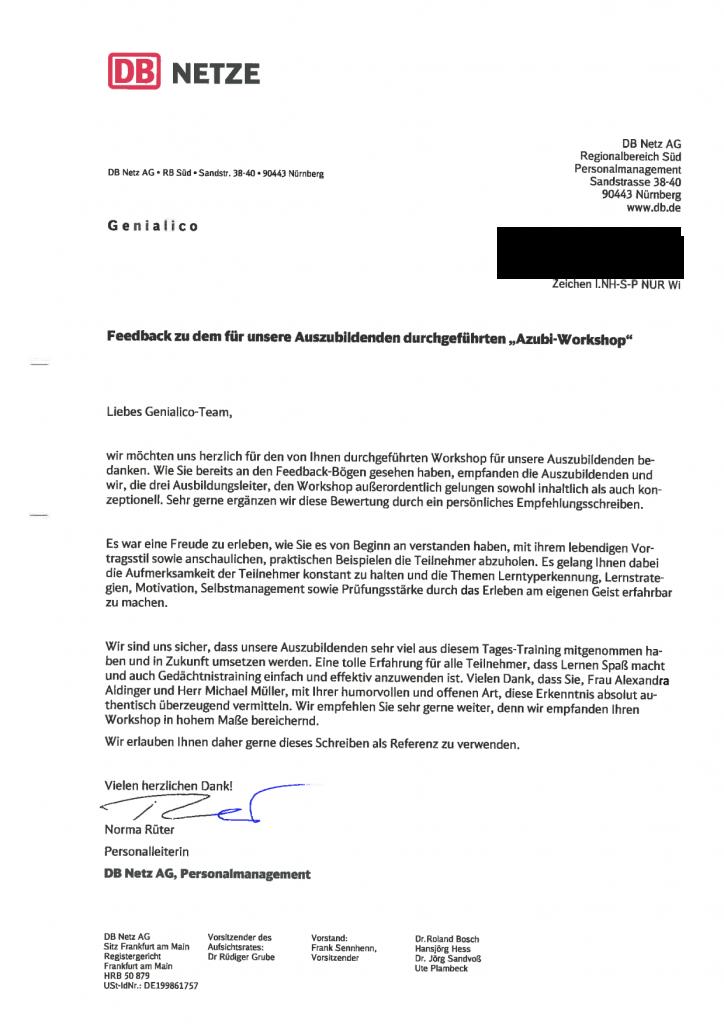Seminar für Azubis und Ausbildungsleiter – Empfehlungsschreiben der ...